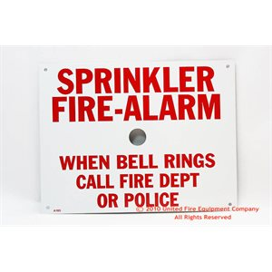 Brooks Sprinkler Fire Alarm Sign